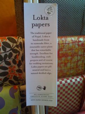 Lokta sign at Paper Source