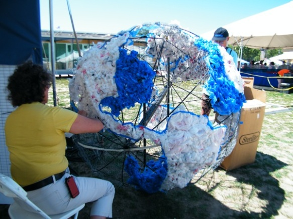 A globe made of plastic bags, as seen at the 2012 Smithsonian Folklife Festival