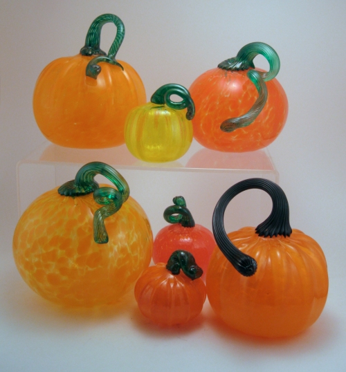Blown glass pumpkins by Wunder Around